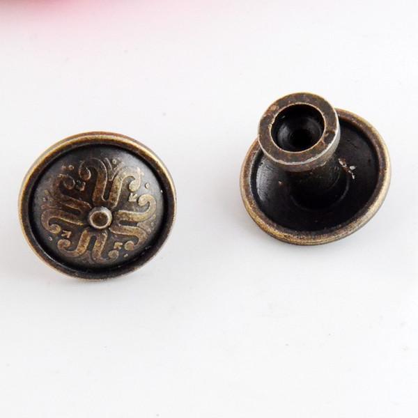 2 pz gioielli scatola di legno pull handle dresser cassetto per porta dell'armadio rotondo bronzo antico 26x22mm (non con vite) F1005