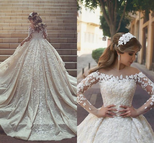 2018 Luxury Lace Wedding Dresses With Long Sleeves Sweep Train Sheer Jewel Neck Modest Plus Size Country Bridal Gown robe de mariée