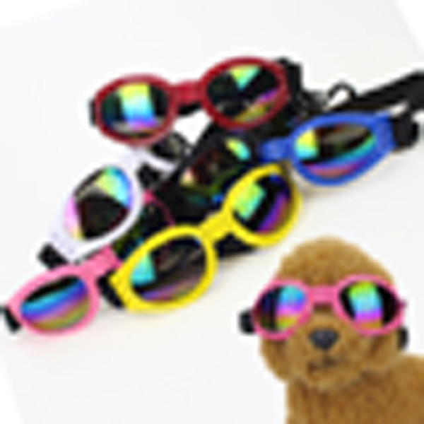 top popular 2019 Real Plastic New Pet Glasses Jewelry Foldable Dog Sunglasses Windproof Anti-smashing Protective Supplies Six Colors Optional 2020