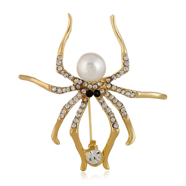 New personality insect brooch personality golden artificial pearl spider brooch giftbrooch pins