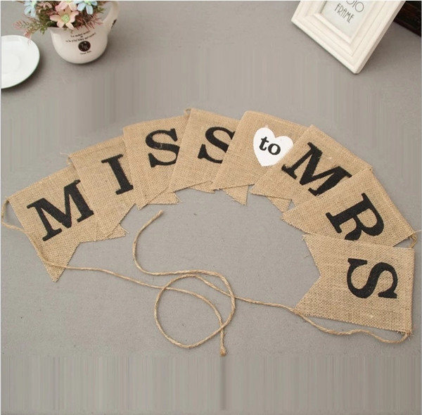 Miss To Mrs Bunting Hessian Bunting Wedding Banner Letter Garland Bridal Shower Hen Party Bachelorette Party Night Decorations
