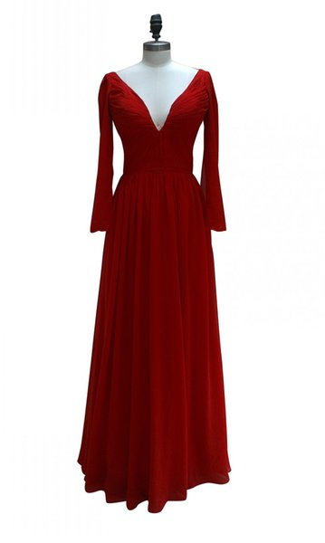 Red Long Chiffon Prom Dress Simple Custom Made V Neck Back Pleat Woman Formal Evening Gowns Dresses with Long Sleeve