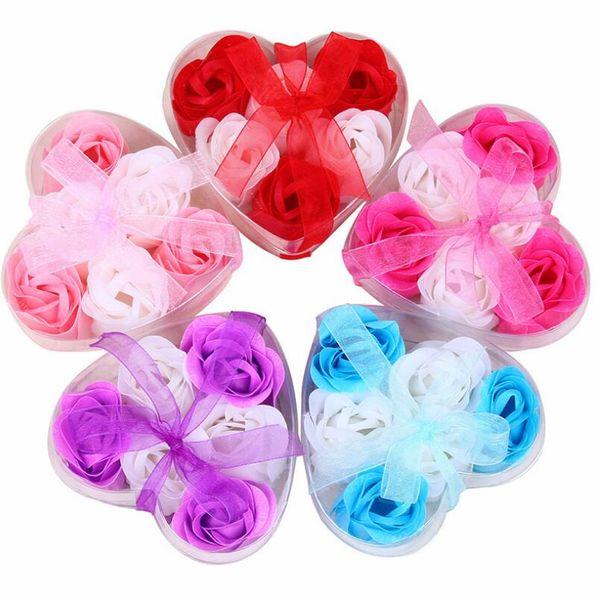 Mix Renkler Kalp Şeklinde 100% Doğal Gül Sabun Çiçek Romantik El yapımı Banyo Sabunu Hediye (6 adet = bir kutu) LX3907