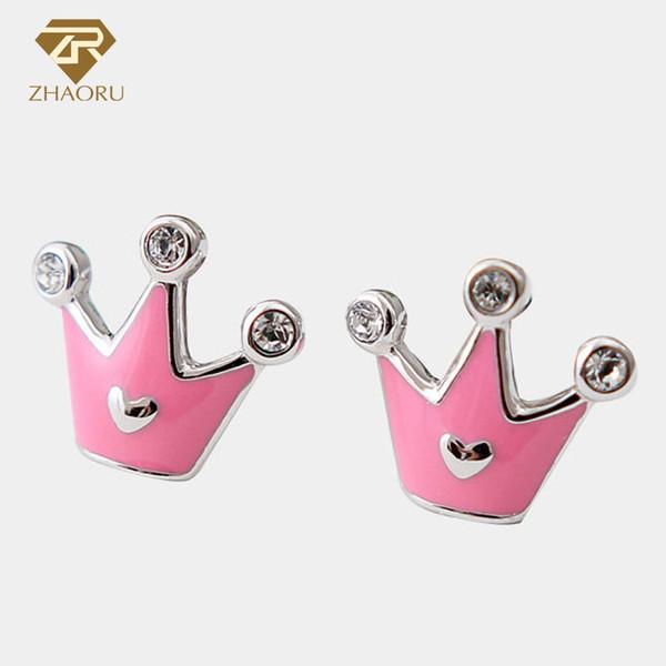 925 Sterling Silver Crown Shape Stud Earrings for Women Fashion Genuine Jewelry Pink or Purple Enamel Party Gift