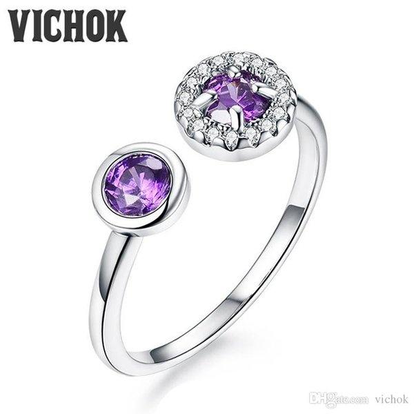 925 Sterling Silver Ring Purple Round Ring For Women Wedding Engagement Fashion Fine Jewelry Statement Rings Platinum Minimalism VICHOK
