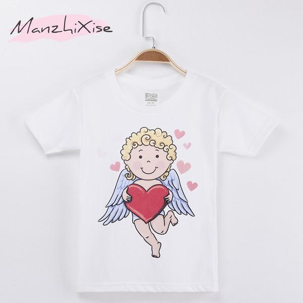 2018 Children Clothes Kids T-shirts Love Angel Print 100% Cotton White Child Boy Short T Shirt Baby Clothing Girl Tops Tee 3-12Y
