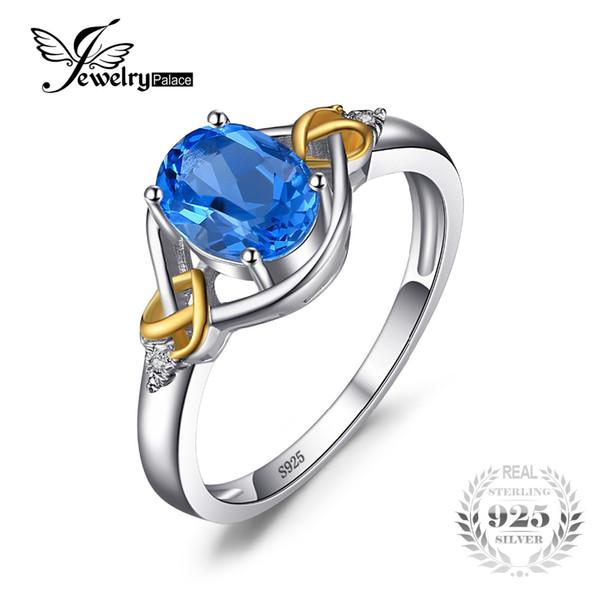 JewelryPalace Love Heart Knot 1.5ct Topacio azul natural Real Diamond Acentuado 925 plata esterlina 18K Anillo de oro amarillo para mujeres
