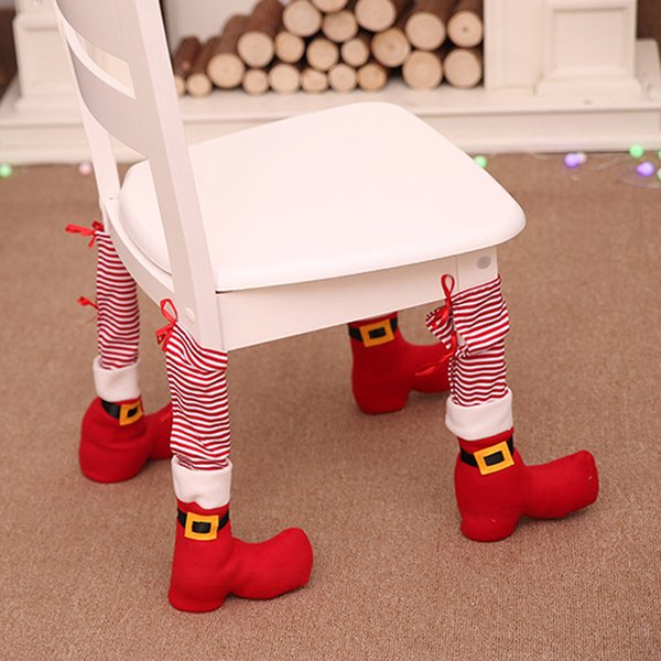 2018 New Arrival Christmas Santa Claus Style Table Foot Cover Backrest Chair Cover Set Xmas Party Decoration 763760