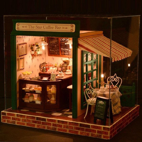 Free Shipping, Assembling 3D Miniature Coffee Shop Model DIY Wood Doll House with Furniture LED Kit, XMAS GIFT