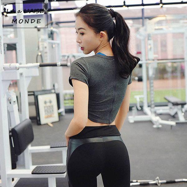 Sexy Women T Shirts Back Zipper Sports Shirts Short Sleeve Yoga Shirt Exercise Tops Workout Shirt Crop Top Gym Fitness Clothes
