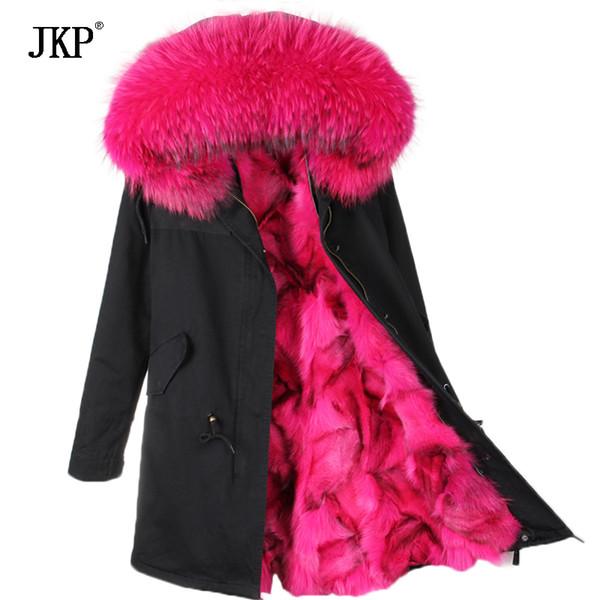 2017 nuevas mujeres de invierno abrigo de invierno Parkas real cuello de piel de mapache con capucha de piel de zorro chaqueta