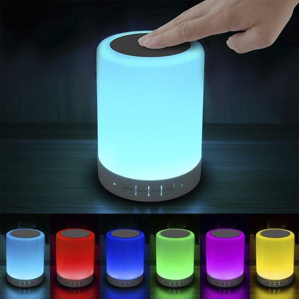 LED Night Light Bluetooth Speakers Portable Wireless Music Speaker Smart Touch Control Color LED Bedside Table Lamp support TF Card by dhl