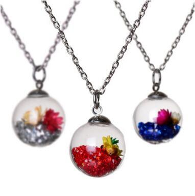 13 colors Wish Wishing message drift bottle pendants crystal Locket Dried Flower Necklace for women Float Locket Wishing Bottle Necklaces