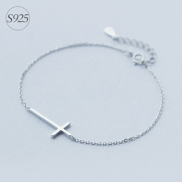 1pc Solid. Real. 925 Sterling Silver crucifix Cross Religion Rolo Chain bracelet adjustable charm Sterling-Silver-jewelry LS174