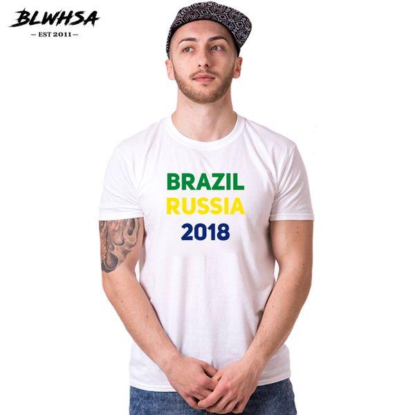 BLWHSA Brazil Russia 2018 World Cup T Shirt Men Brazilian Flag Colors Green Yellow Blue Print T-shirt Fashion Cotton TShirt