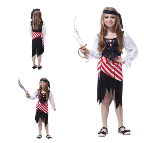 Children's Day Pirate Costumes Girls Party Cosplay Make Up role-playing For Children Kids Lovely Playful Halloween Xmas Christmas Clothes