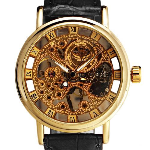 Hot Sales Men's Gorgeous Ultra-thin Golden Hollow Carve Dial Luxury Mechanical Clock Watch 5V87