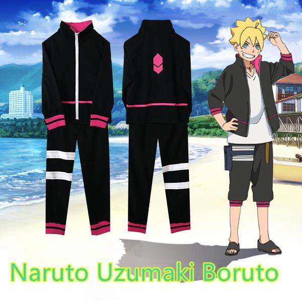 Tamanho asiático Japão Anime Hokage Naruto Uzumaki Boruto Cosplay Unisex Uniforme Moletom Com Capuz Casaco Calças Conjunto Completo