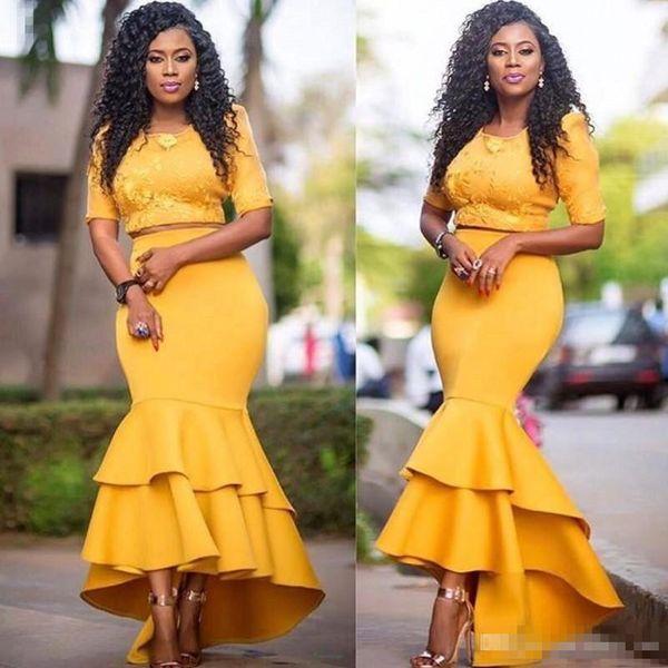 İki Adet Afrika Elbiseler Akşam Giymek Yarım Kollu Jewel Yüksek Düşük Etek Saten Mermaid Balo Elbise Ucuz Fermuar Geri Homecoming Parti Elbise