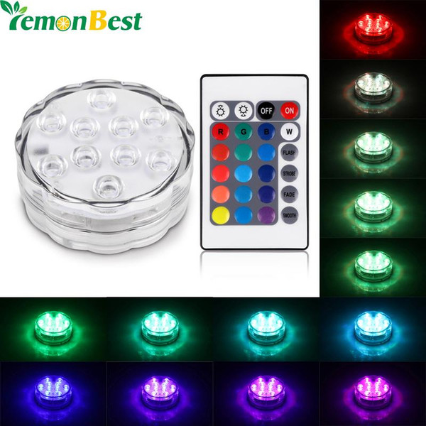 RGB 10 Led Luz Sumergible Funciona con Batería IP68 A Prueba de Agua Submarino Piscina Banquete de Boda Piscina Estanque Iluminación