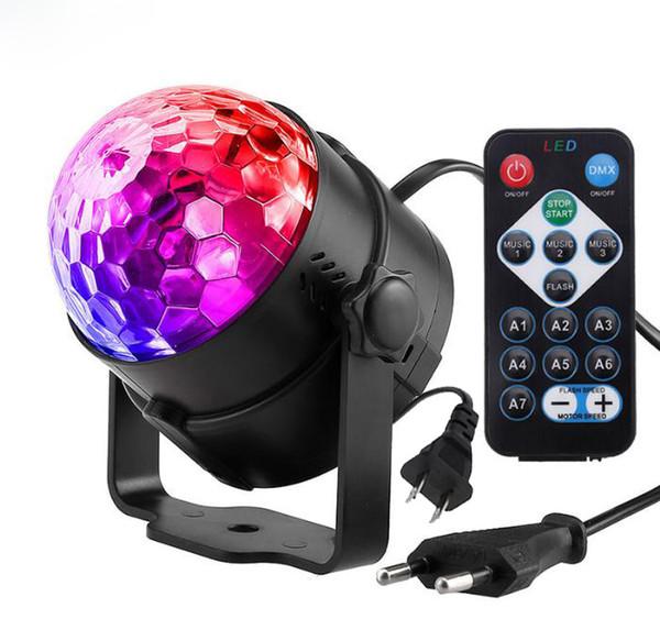 DJ Disco Ball Lumiere 7 Couleurs Son Activé Son Projecteur Laser RVB Scène Effet Lampe Noël KTV Musique Party DJ Light