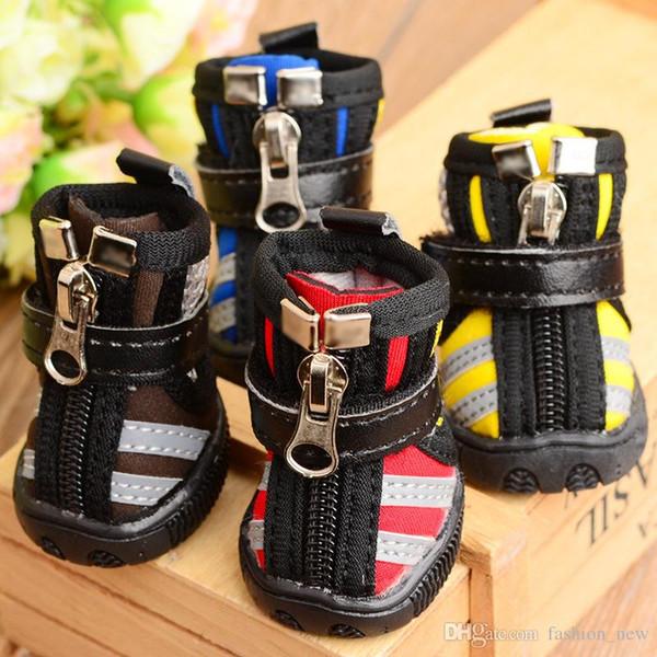 4 unids / set algodón perro zapatos antideslizante zapato antideslizante caliente invierno perro shoesteddy suave rayadas botines inferiores para perro pequeño