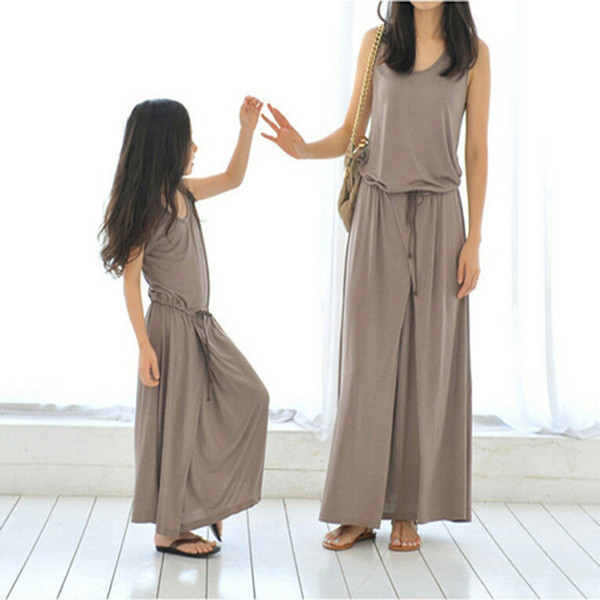 Mother Daughter Dresses Clothes Casual Cool Summer New 2018 Family Matching Outfits Sleeveless Cotton Mom Baby Loose Long Dress
