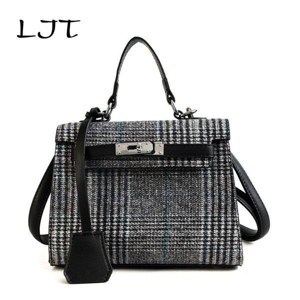 LJT Brand Crossbody Bags For Women 2018 Luxury Handbags Women Bags Designe Fashion Woolen Lattice Shoulder Messenger Bag bolsos