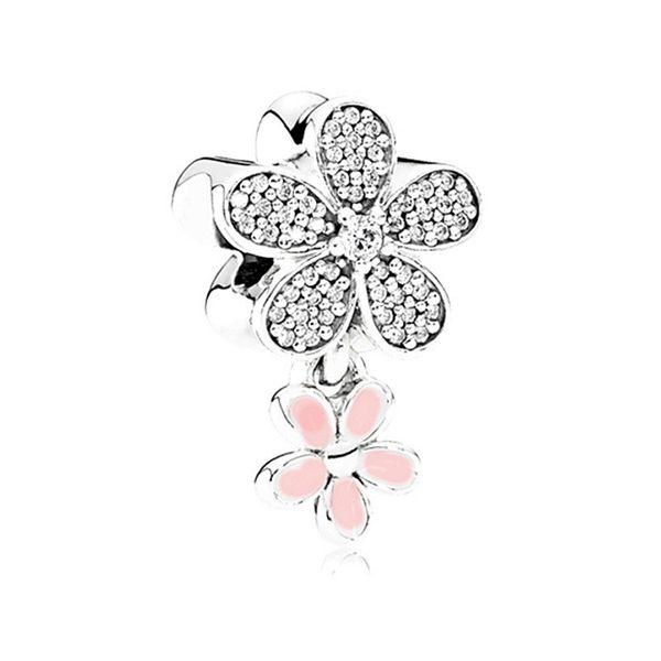 Silver Spring Light Pink Enamel Magnolia Flower Bloom Clip Charm Bead Hanging Bead Fit Original Charm Bracelet DIY Jewelry