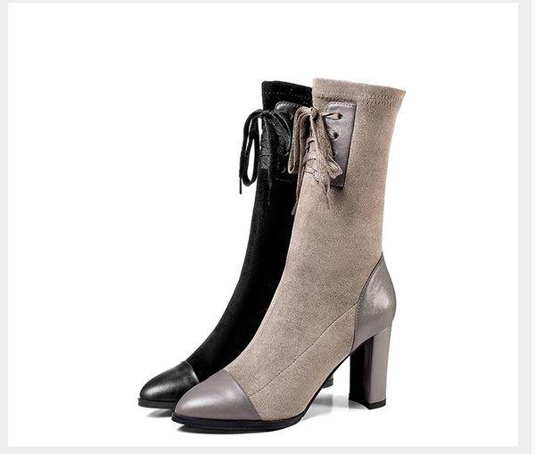 Autumn winter fashion Martin boots women European American classic high heels thin elastic female boots short boots