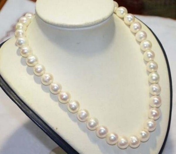 Beautiful Charming Natural 10-11mm south sea white pearl necklace 20inch 14k