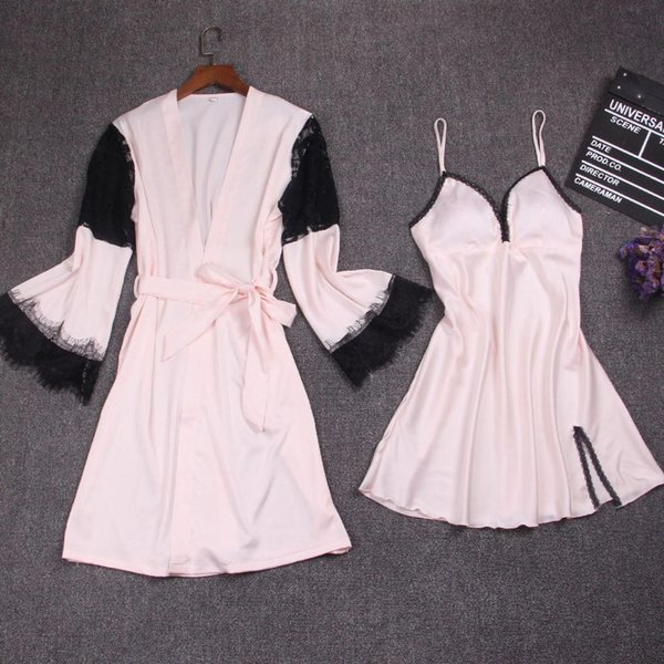 Sexy Female Nighty&Robe Sleep Suit Rayon 2PCS Sleepwear Lace Trim Nightgown Kimono Bathrobe Bride Bridesmaid Wedding Robes