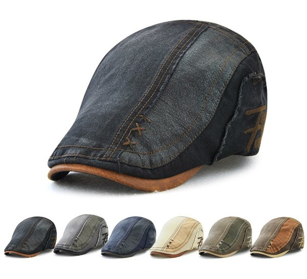 New cotton adult caps men's berets wholesale explosions outdoor sunscreen sunscreen forward hat washed denim casual sunhat