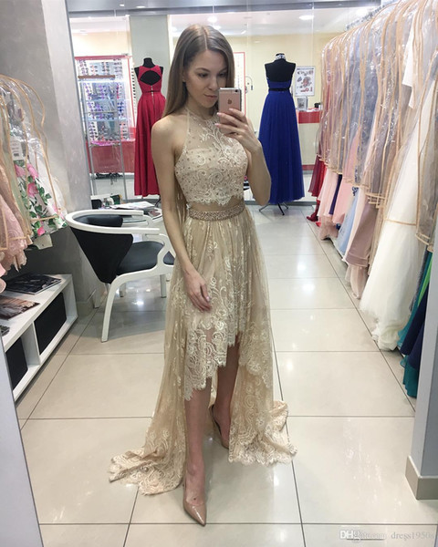 Sexy Gold Prom Dresses Two Piece Halter hi low chiffon Lace Formal Evening Dresses Beaded Crystal Sheer Neck front short back long cocktail