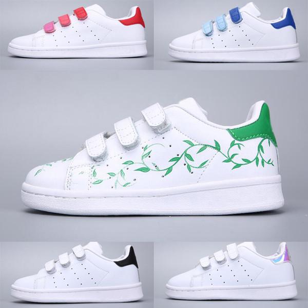Großhandel Adidas Stan Smith Superstar Neue Ankunft 11 Farben Kinder Superstars Kausale Schuhe Mit Drei Hookloop Jungen Mädchen Mode Superstars