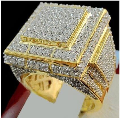 Full Sunning Zirconia CZ Luxury Jewelry Round Shape Big Stone lovers Wedding Band Ring