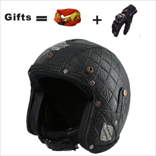 KCO Vintage Leder Motorrad Cross Country Harley Karierter Helm Handgefertigter hochwertiger klassischer Helm