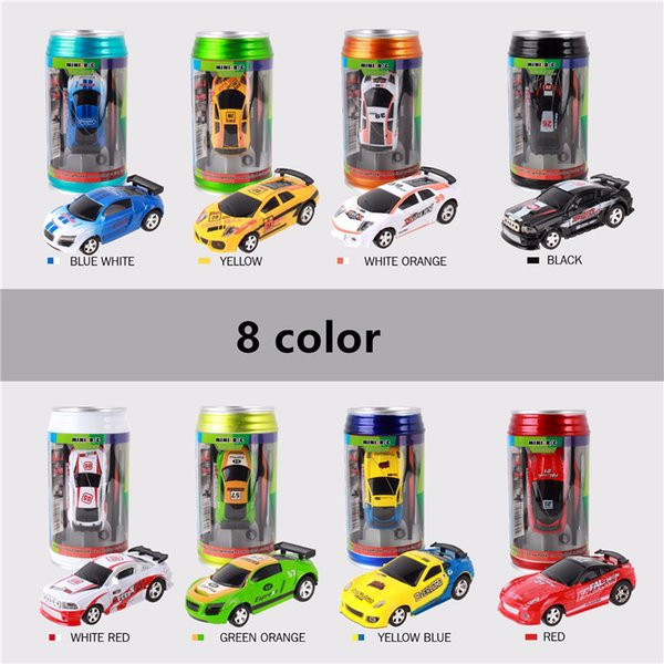 8 color Mini-Racer Remote Control Car Coke Can Mini RC Radio Remote Control Micro Racing 1:64 Car DHL free shipping