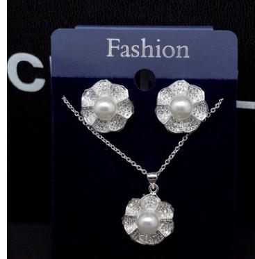 wonderful diamond crystal inlay pearl set lady's necklace earings (20) etre4rew