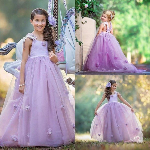 Romantic Light Purple flower Girls Dresses For Country Wedding With Hand Flower Floor Length Backless Girls Pageant Party Gowns