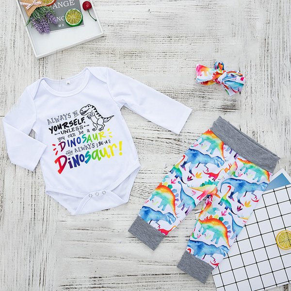 Baby Colorful Letter Dinosaur 3 PC Set Fall 2018 Kids Boutique Clothing Infant Toddlers Boys Girls Long Sleeves Rompers+Pants Outfits
