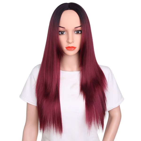 Unprocessed hotselling new virgin remy human hair long 1bt99j ombre color silky straight full lace wig cheap fashion for black women