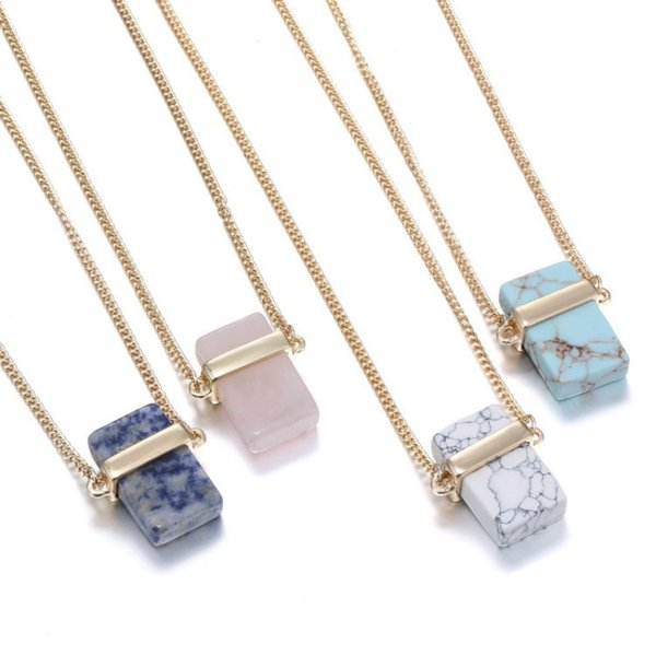 Natural Stone Pendant Necklace Rectangle Turquoise Pendants With 28 Inch Gold Plated Chain Fashion Jewelry 4 Colors