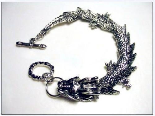 nobllest Китай Тибет Тибет Серебряный дракон голова ссылка мужская цепь браслет