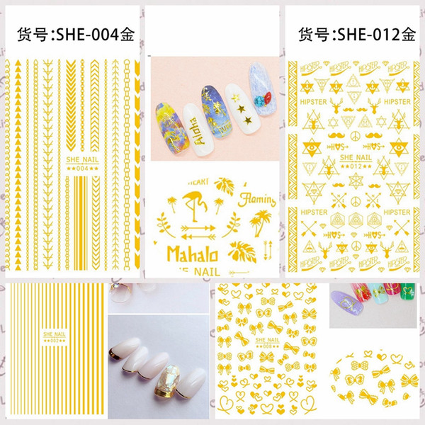 1 Sheet Gold Black Various Line Bow Tie Heart Geometric Drawing Lace Floret Self-Adhesive Nail Art Stickers Decals DIY Tips SHE#