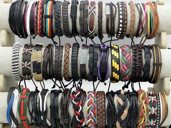 top popular New Stylish Handmade Leather Braid Hemp Bracelets Unisex Leather Wristband Bracelet Jewelry Xmas Gifts Factory Wholesale Mix Styles 2019