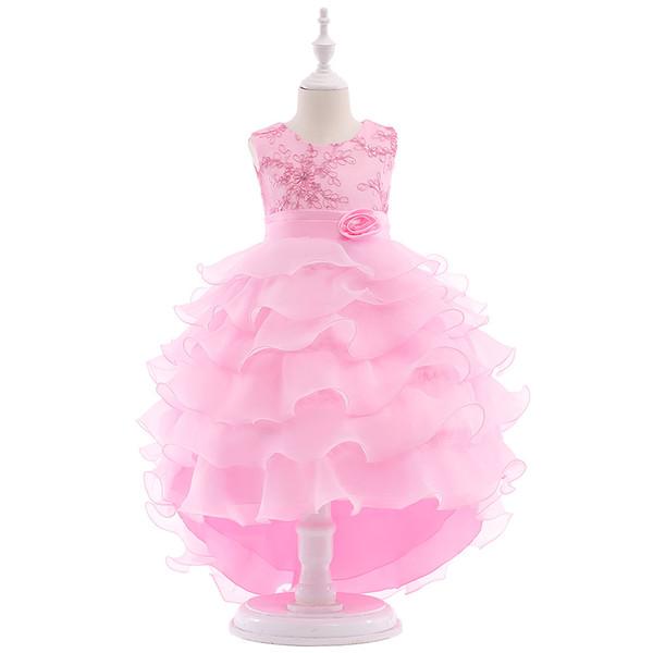 Nova Chegada 2019 Bonito Rosa Flor Meninas Vestidos Beads Laço Arco Apliques de Casamento de Aniversário de Baile Comunhão Da Criança Crianças Tutu Vestido