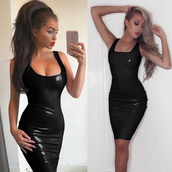 Black LaTeX couro preto invisível Zip Vest vestido de saia