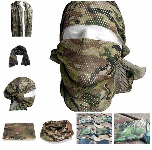 21 Styls Tactical Military Camouflage Scarf Cool Airsoft Tactical Multifunctional Army Mesh Breathable Scarf Wrap Mask 100Pcs