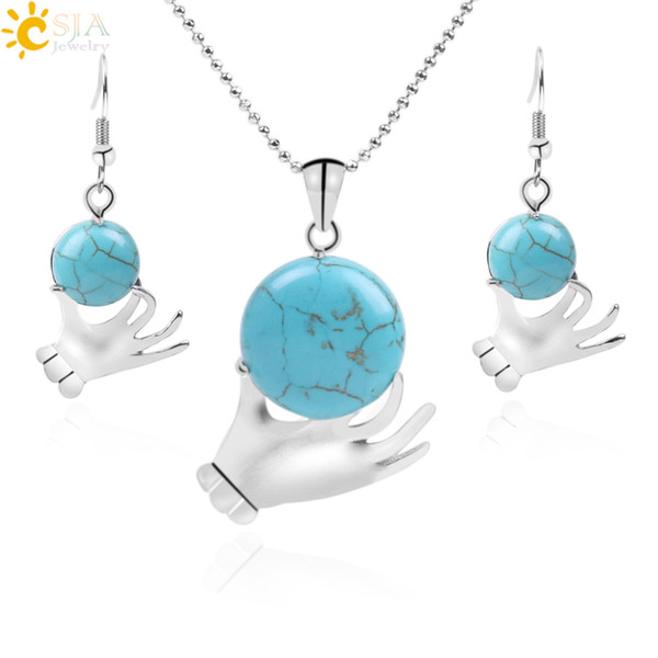 CSJA Blue Turquoise Jewelry Set for Women Hand Shaped Gemstone Beads Dangle Earrings Statement Necklace Halloween Gothic Jewellery Sets F258